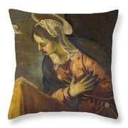 Virgin From The Annunciation To The Virgin Throw Pillow