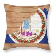 Virginia Rustic Map On Wood Throw Pillow