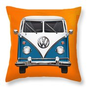 Volkswagen Type 2 - Blue And White Volkswagen T 1 Samba Bus Over Orange Canvas  Throw Pillow by Serge Averbukh