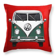 Volkswagen Type 2 - Green And White Volkswagen T 1 Samba Bus Over Red Canvas  Throw Pillow