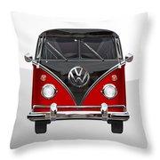 Volkswagen Type 2 - Red And Black Volkswagen T 1 Samba Bus On White  Throw Pillow