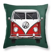 Volkswagen Type 2 - Red And White Volkswagen T 1 Samba Bus Over Green Canvas  Throw Pillow by Serge Averbukh