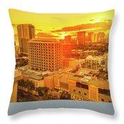 Waikiki City Sunset Throw Pillow
