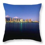 Waikiki Skyline Throw Pillow