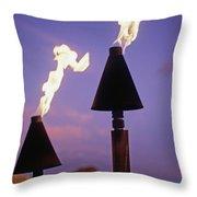 Waikiki, Tiki Torches Throw Pillow by Carl Shaneff - Printscapes