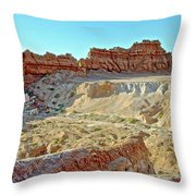 Wall Of Goblins On Carmel Canyon Trail In Goblin Valley State Park, Utah Throw Pillow