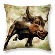 Wall Street Bull Vii Throw Pillow