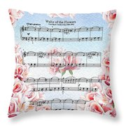 Waltz Of The Flowers Pink Roses Throw Pillow