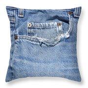 Worn Jeans Throw Pillow