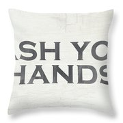 Wash Your Hands Modern Farm Sign- Art By Linda Woods Throw Pillow