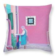 Washing Day, Burano, Venice Throw Pillow
