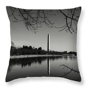 Washington Memorial Framed By Cherry Trees In The Winter Throw Pillow