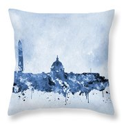 Washington Skyline-blue Throw Pillow