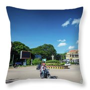 Wat Damnak Roundabout In Central Siem Reap City Cambodia Throw Pillow