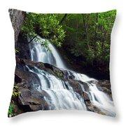 Water Cascading Over Rocky Cliffs Throw Pillow