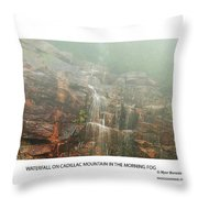 Water Fall On Cadillac Mountain Throw Pillow