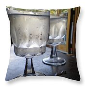 Water Glasses Sweating Throw Pillow