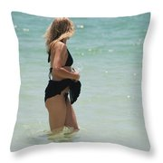 Water Lady Throw Pillow