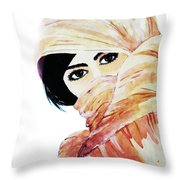 Watercolor Muslim Women Throw Pillow