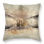 Watercolor Painting Of Beautiful Romantic Image Of Swans On Mist Throw Pillow