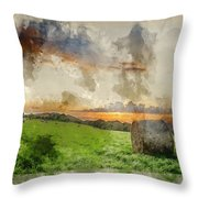 Watercolor Painting Of Beautiful Summer Vibrant Sunset Over Coun Throw Pillow