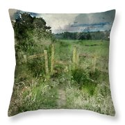 Watercolor Painting Of Beautiful Vibrant Summer Sunrise Over Eng Throw Pillow
