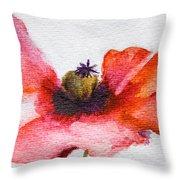 Watercolor Poppy Flower Throw Pillow