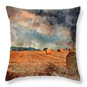 Watercolour Painting Of Beautiful Golden Hour Hay Bales Sunset L Throw Pillow