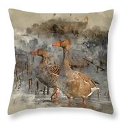 Watercolour Painting Of Beautiful Greylag Goose Anser Anser In W Throw Pillow