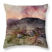Watercolour Painting Of Stunning Summer Dawn Over Mountain Range Throw Pillow