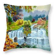 Waterfall After Monsoon Throw Pillow