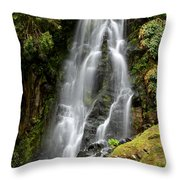 Waterfall At Azores Throw Pillow