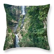 Waterfall Highlands Of Guatemala 1 Throw Pillow