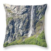 Waterfall In Geiranger Norway Throw Pillow