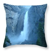 Waterfall In The Mountains Throw Pillow
