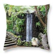waterfall in tripcal garden Monte Madeira Throw Pillow