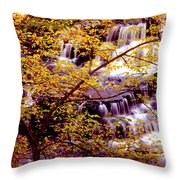 Waterfalls And Fall Colors Throw Pillow