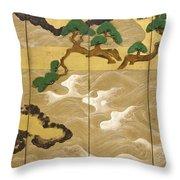 Waves At Matsushima Throw Pillow
