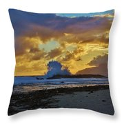 Waves At Sunrise Throw Pillow