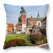 Wawel Cathedral In Krakow Throw Pillow