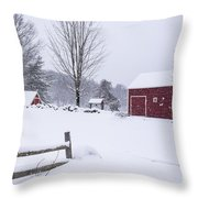 Wayside Inn Grist Mill Covered In Snow Storm Throw Pillow