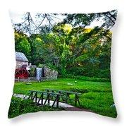 Wayside Inn Grist Mill Throw Pillow