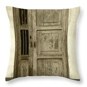 Weathered Gray Door In A Wall Throw Pillow