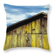 Weathered Wooden Barn, Gaviota, Santa Throw Pillow