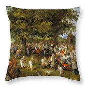 Wedding Banquet Presided Over By The Archduke And Infanta Throw Pillow