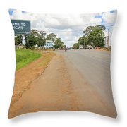 Welcome Sign To Lilongwe In Malawi. Throw Pillow