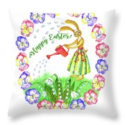 Welcome Spring.rabbit And Flowers Throw Pillow