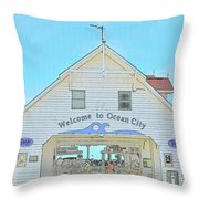 Welcome To Ocean City Throw Pillow