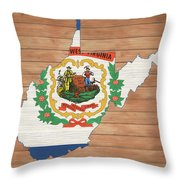 West Virginia Rustic Map On Wood Throw Pillow