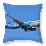 Westjet Boeing 737-8ct C-gwsv Frozen Phoenix Sky Harbor January 29 2016 Throw Pillow
